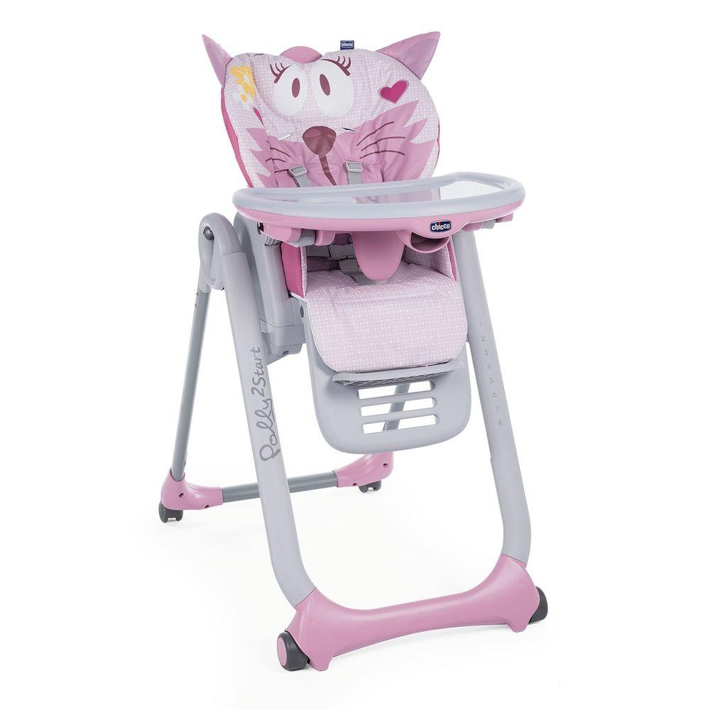 Стульчик для кормления Chicco Polly 2 Start, 4-х колесный, арт. 79205, цвет Розовый