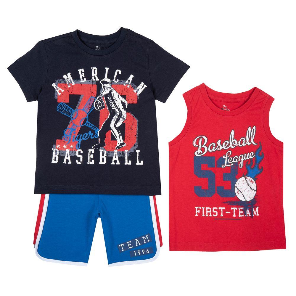 Костюм Chicco Basetball: футболка, майка и шорты, арт. 090.76519.088, цвет Красный с синим