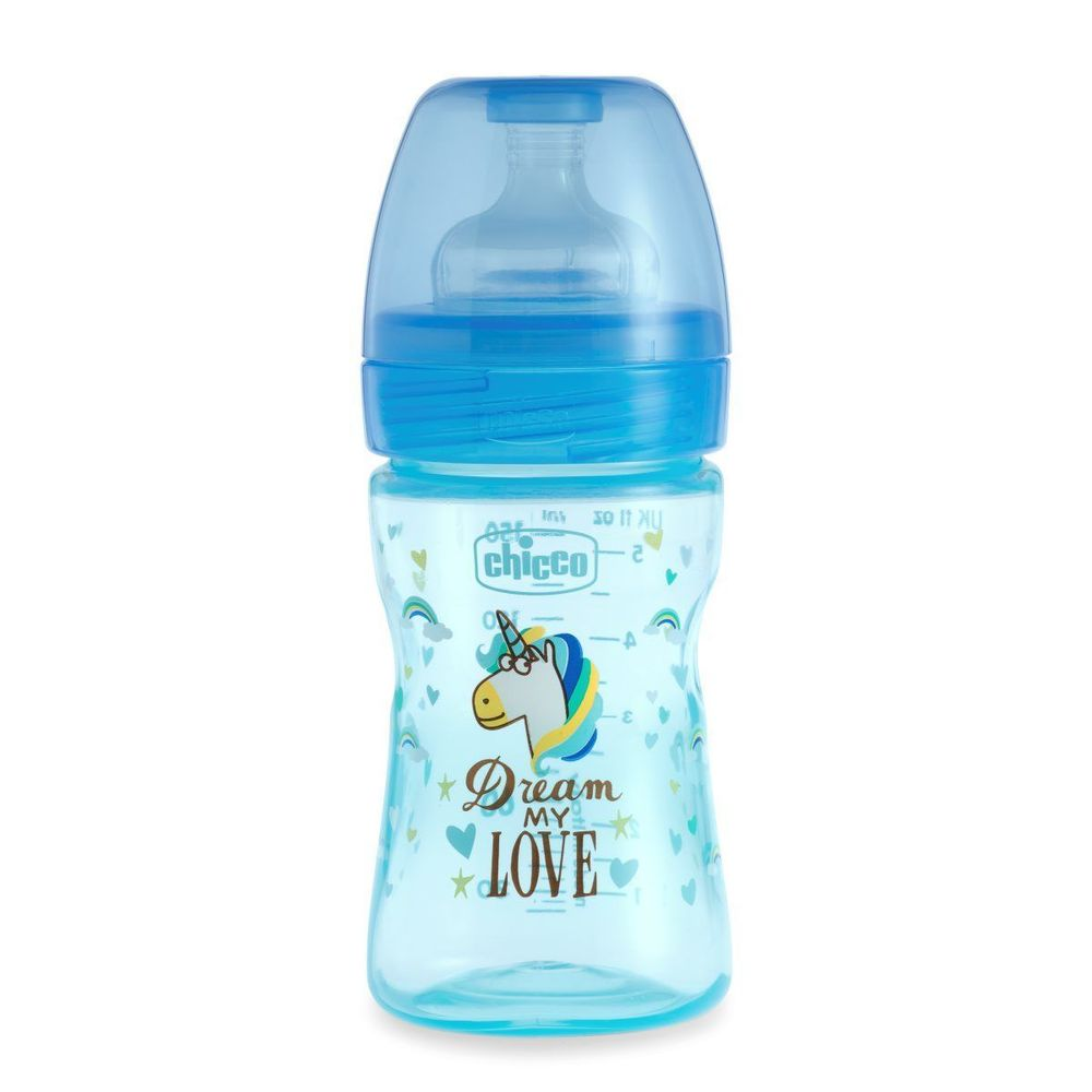 Бутылочка пластик Chicco Well-Being Love, 150мл, соска силикон, 0m+, арт. 09849, цвет Голубой