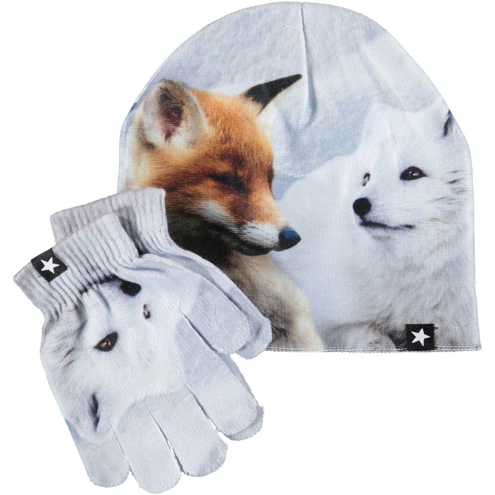 Комплект Molo Kaya Foxes: шапка и перчатки, арт. 7W19S901.5373, цвет Белый