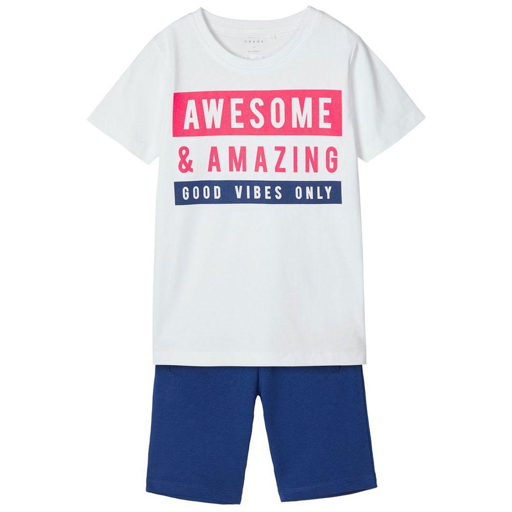 Костюм Name it Amazing: футболка и шорты, арт. 201.13173852.BLUE, цвет Белый