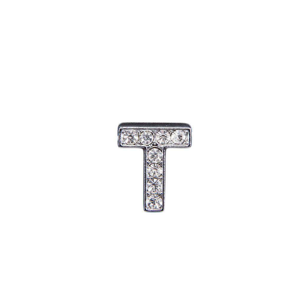 """Эмодзи Tinto """"Буква T"""" со стразами, арт. LT00930.1, цвет Серебряный"""