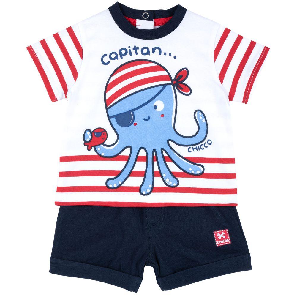 Костюм Chicco Capitan: футболка и шорты, арт. 090.76480.037, цвет Синий с белым