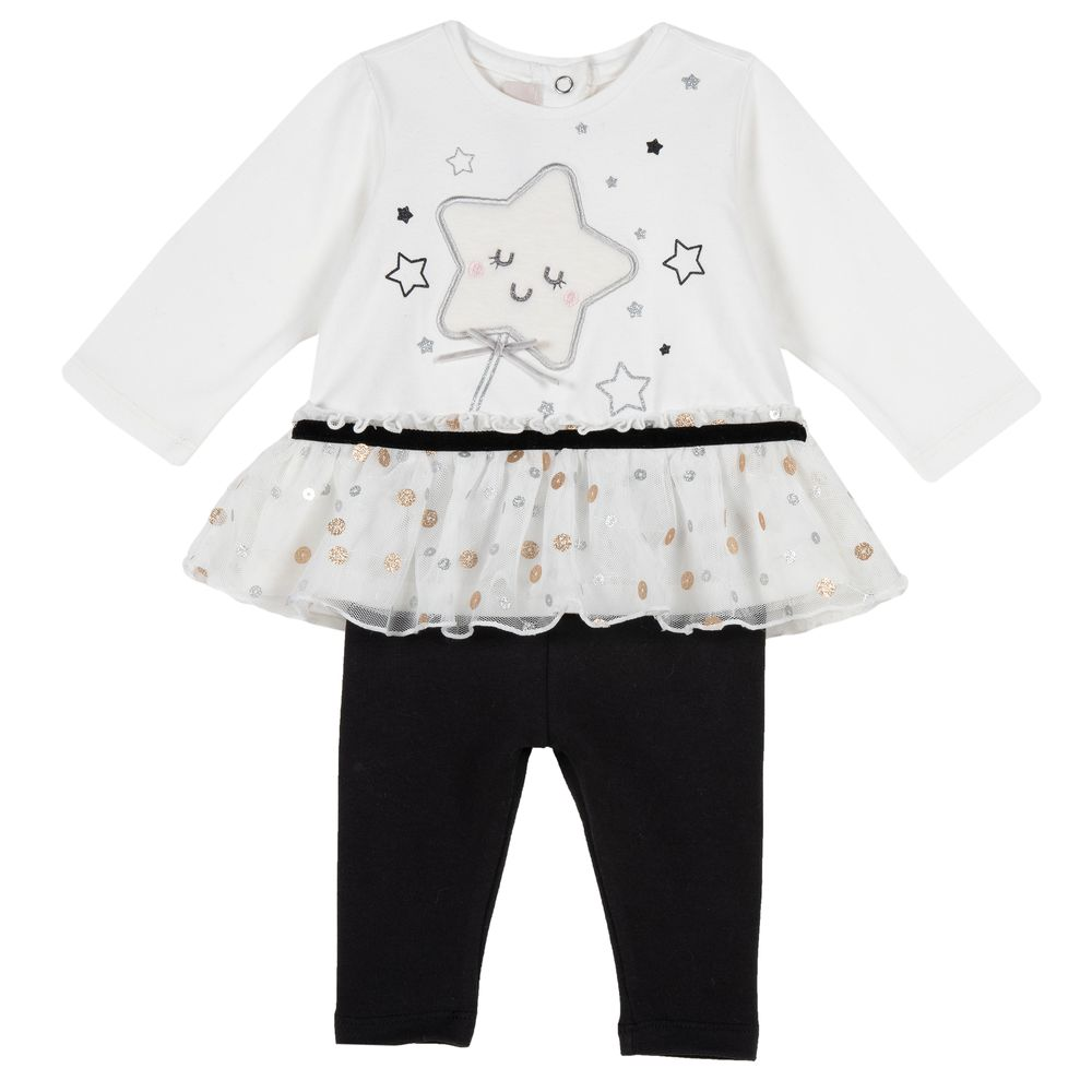 Костюм Chicco Shiny star: реглан и брюки, арт. 090.77382.030, цвет Черно-белый