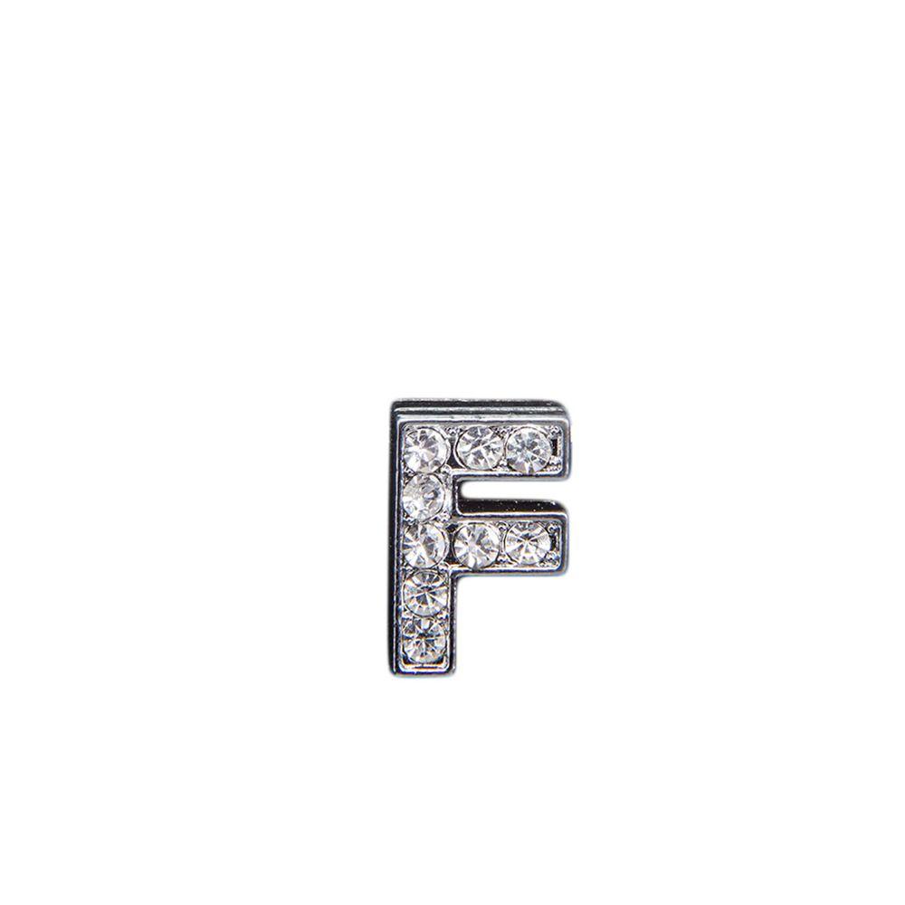 """Эмодзи Tinto """"Буква F"""" со стразами , арт. LT00916.1, цвет Серебряный"""