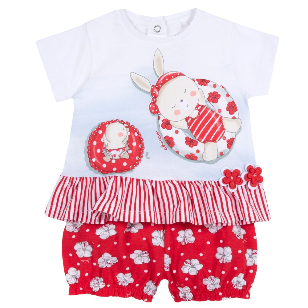 Костюм Chicco Miss spiaggia: футболка и шорты, арт. 090.76433.037, цвет Белый с красным