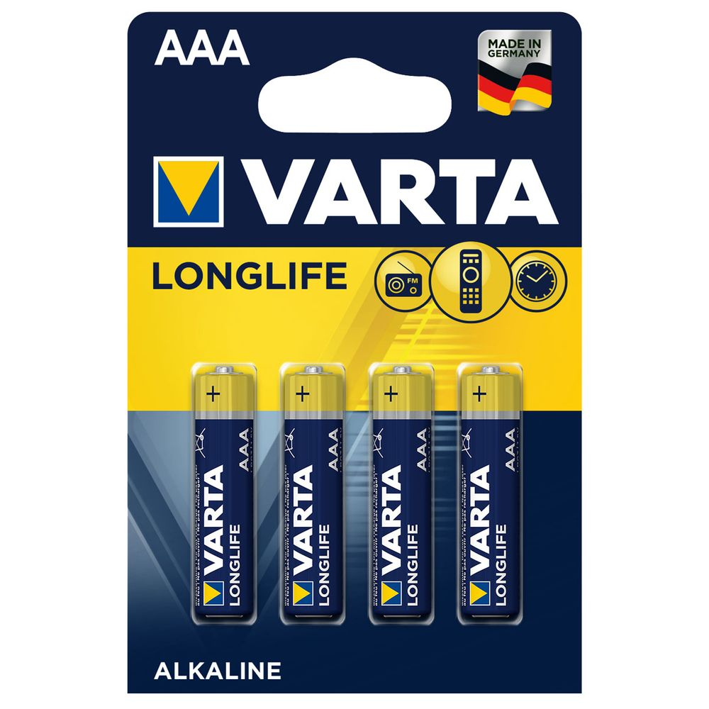 Батарейки Varta High Longlife AAA Alkaline, 4 шт, арт. k.4103101414