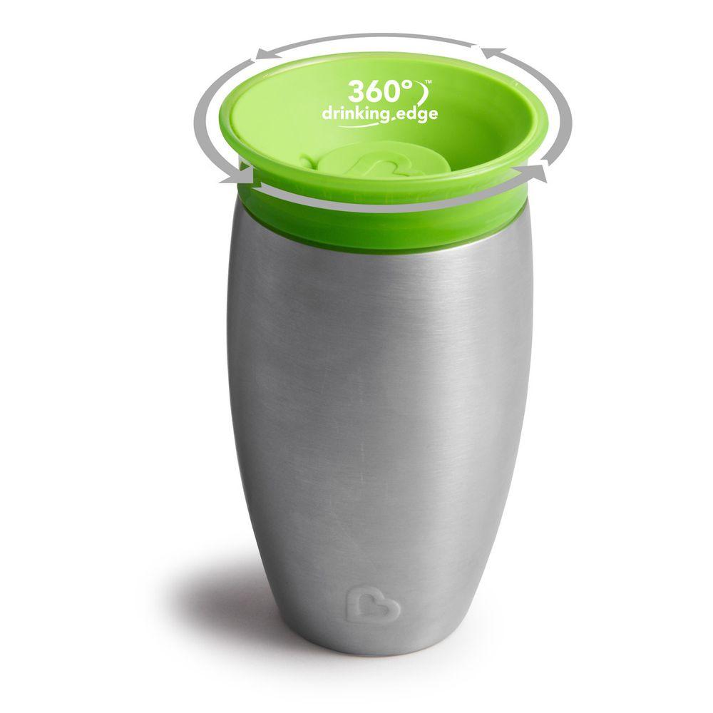 """Чашка непроливная Munchkin """"Miracle 360 Steel"""", 296 мл, арт. 012370, цвет Зеленый"""