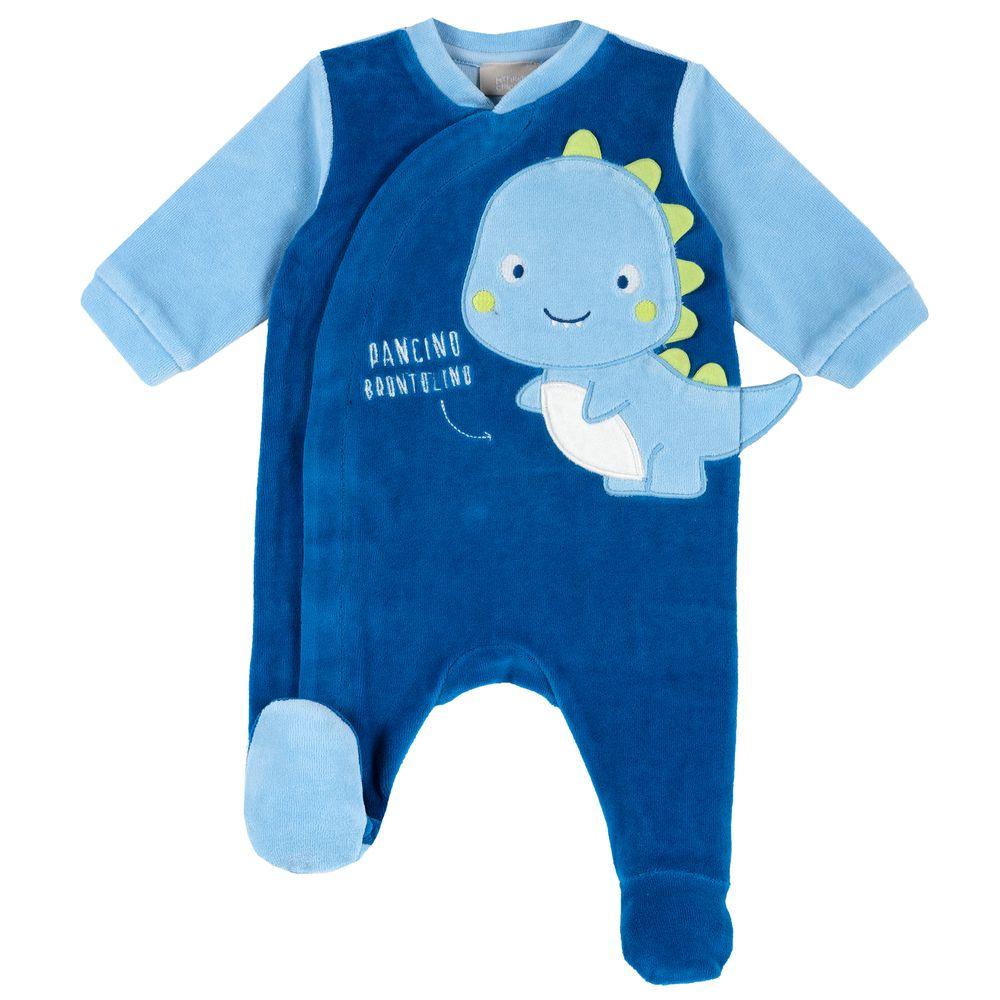 Комбинезон велюровый Chicco Baby dinosaur, арт. 090.20510.085, цвет Синий