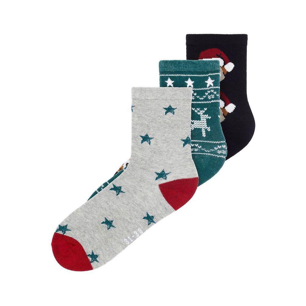 Носки (3 пары) Name it Christmas, арт. 193.13174757.BLAC, цвет Зеленый