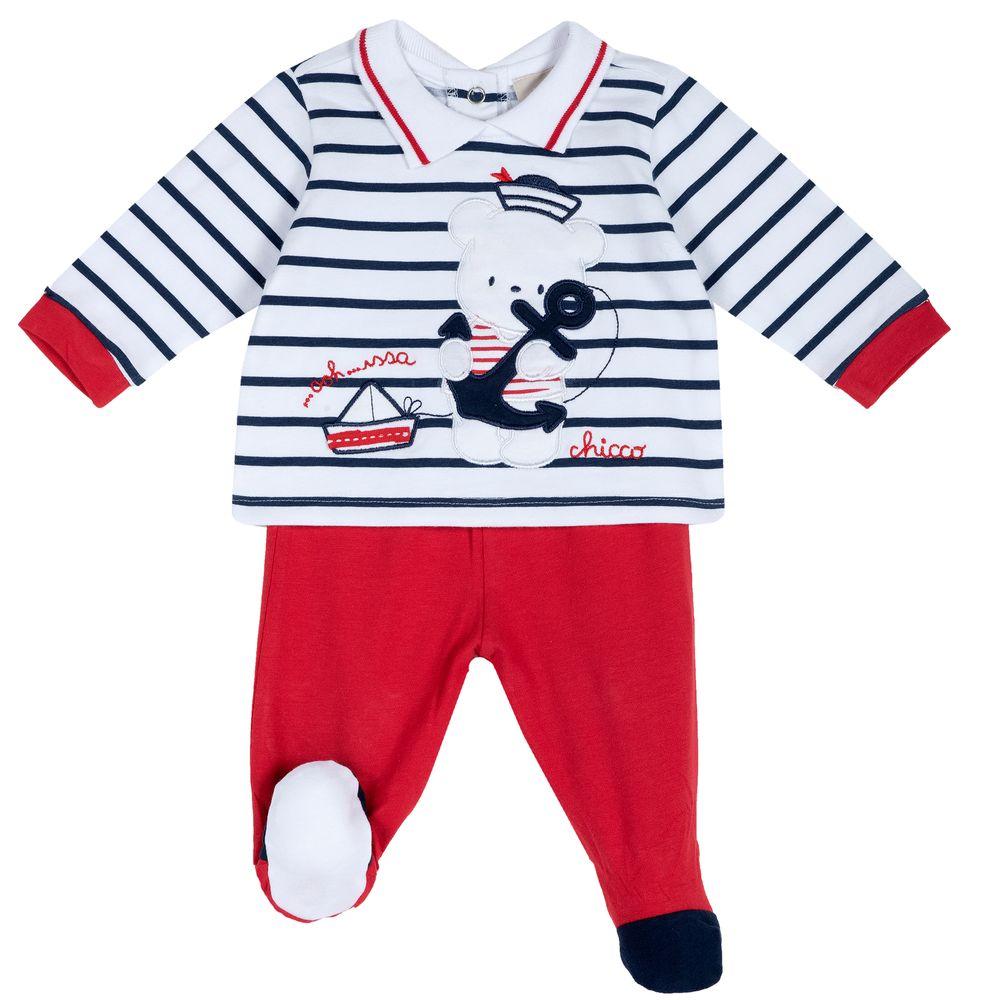 Костюм Chicco Little sailor: рубашка и ползунки, арт. 090.76471.071, цвет Красный с белым