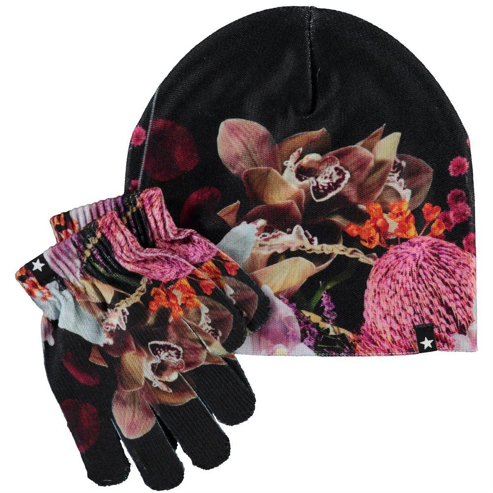 Комплект Molo Kaya Bouquet: шапка и перчатки, арт. 7W20S903.7264, цвет Черный