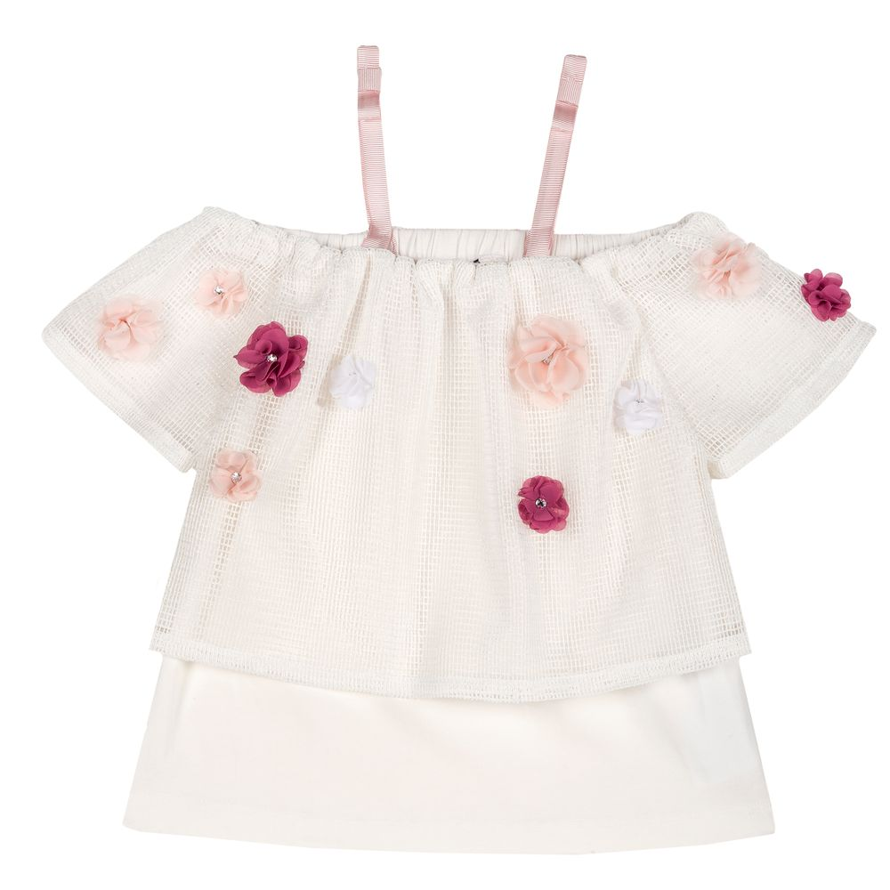 Блуза Chicco Princess flowers, арт. 090.68529.030, цвет Белый