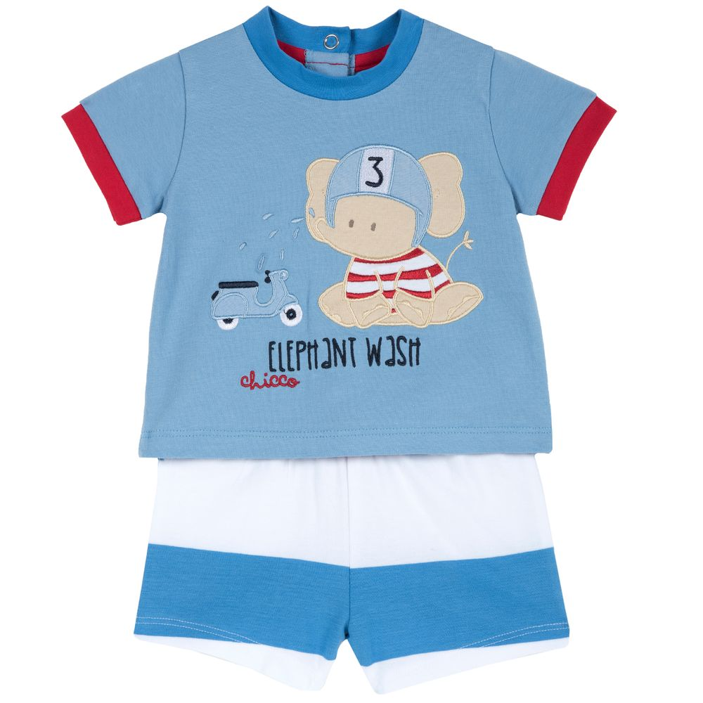 Костюм Chicco Elephant: футболка и шорты, арт. 090.77916.023, цвет Голубой