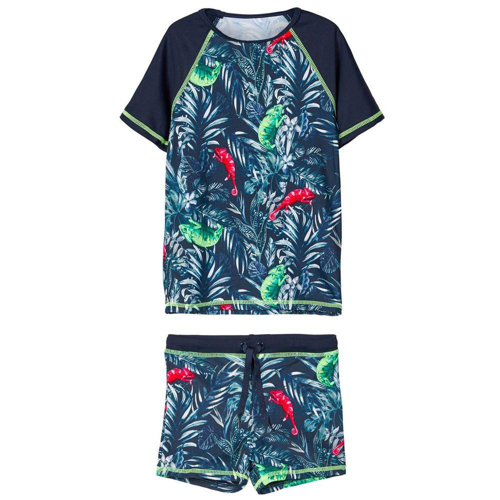 Костюм Name it Exotic leaf: футболка и шорты, арт. 201.13174950.DSAP, цвет Синий