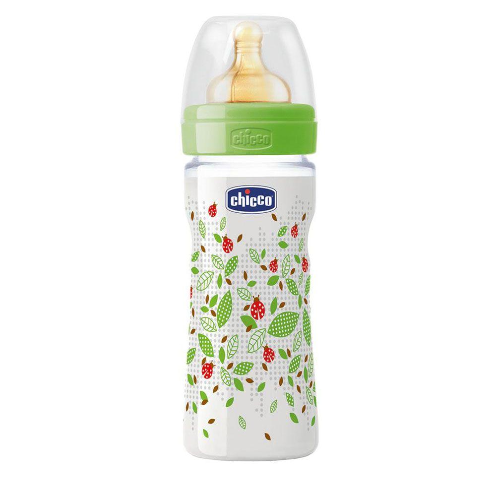 Бутылочка пластик Chicco Well-Being, 250мл, соска латекс, 2м+, арт. 20622, цвет Зеленый