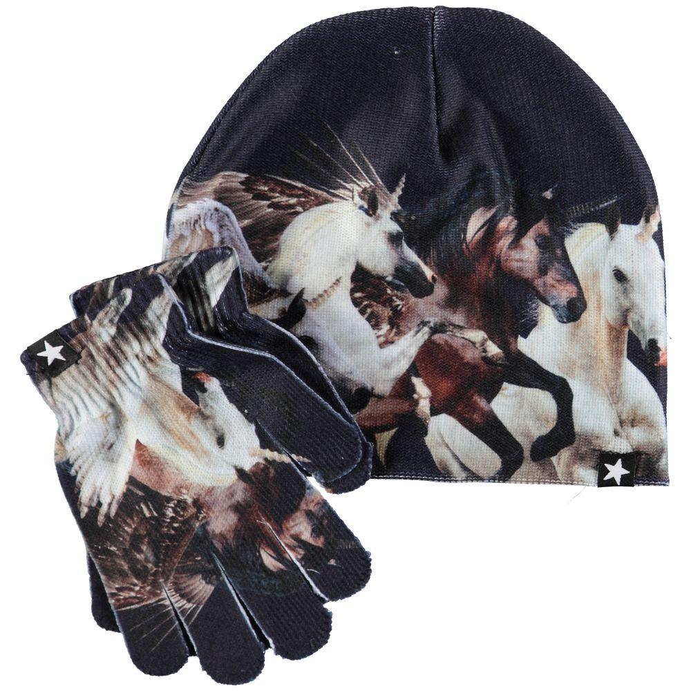 Комплект Molo Kaya Unicorns: шапка и перчатки, арт. 7W19S901.5372, цвет Черный