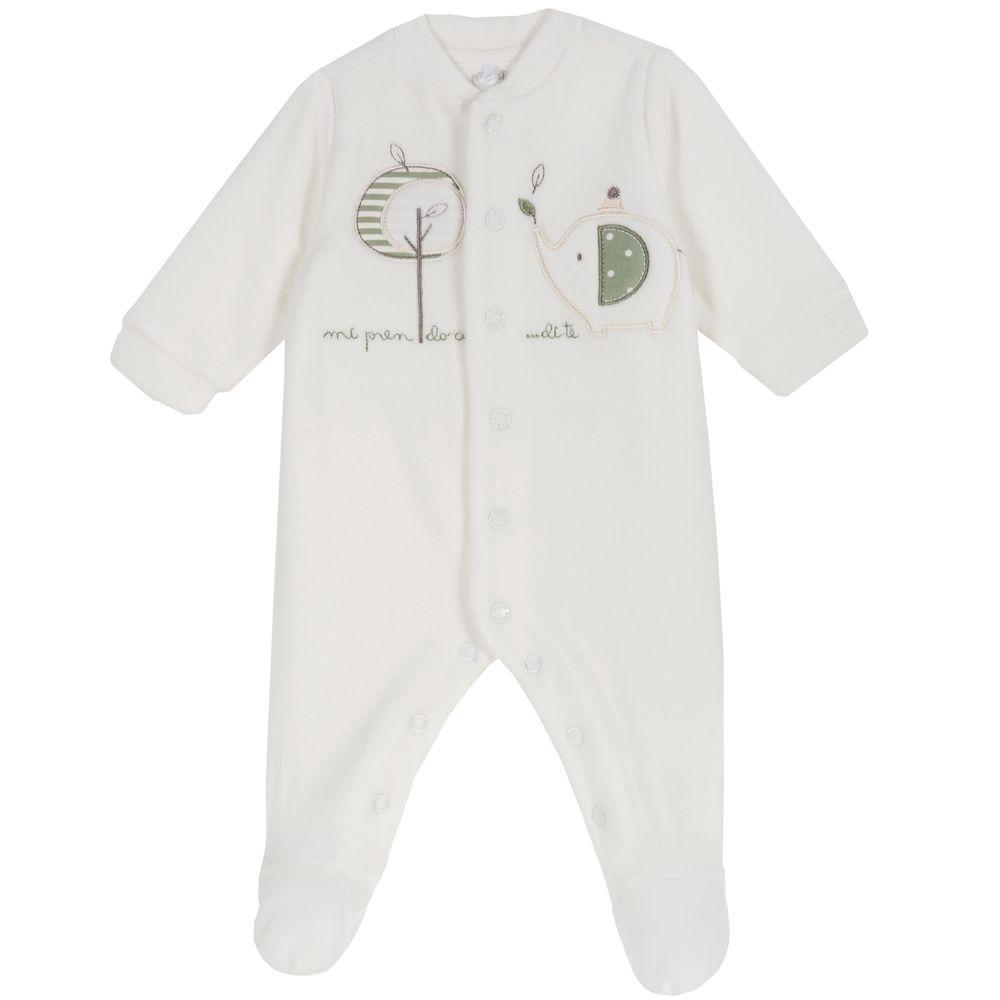 Комбинезон велюровый Chicco Baby elephant, арт. 090.02036.030, цвет Белый
