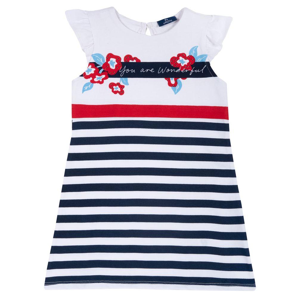 Платье Chicco Wonderful girl, арт. 090.03686.038, цвет Синий с белым