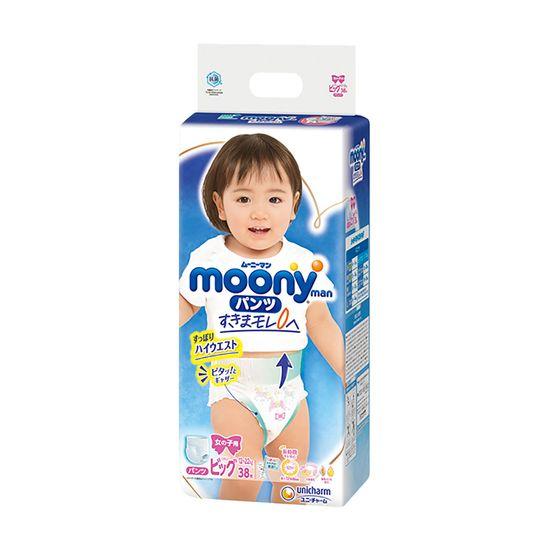 Подгузники-трусики Moony для девочки, размер XL, 12-22 кг, 38 шт, арт. 4903111208098