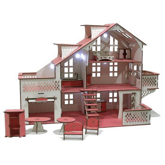 Кукольный домик GoodPlay, с гаражом и подсветкой, 85х35х55 см, арт. B012