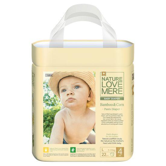 Подгузники-трусики Nature Love Mere Bamboo&Corn, размер 4 (L), 7-11 кг, 22 шт, арт. 8809402093298