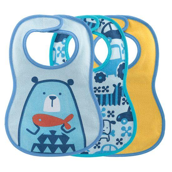 Слюнявчики непромокаемые Chicco WEANING BIB, 3 шт, арт. 16301, цвет Голубой