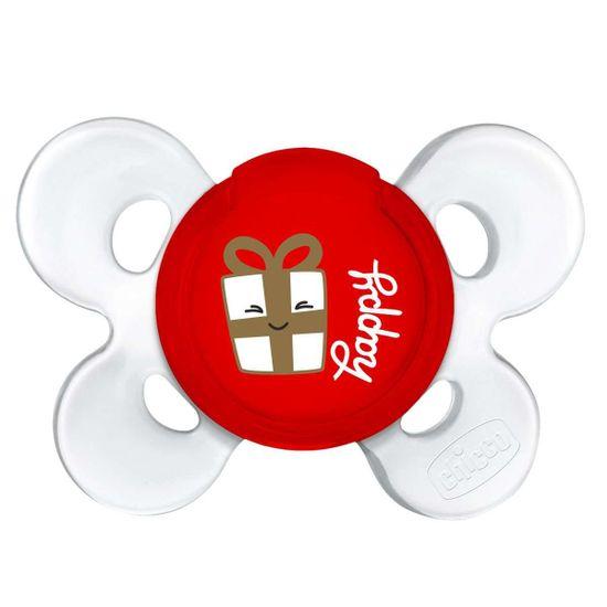 Пустышка Chicco Physio Сomfort Christmas, силикон, 12м+, 1 шт., арт. 55618.00, цвет Красный