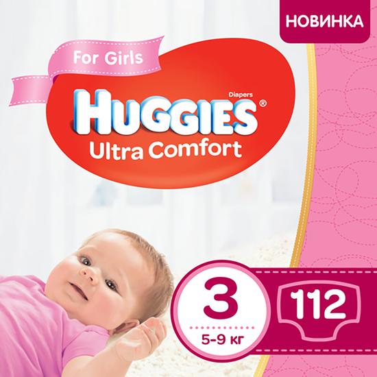 Подгузники Huggies Ultra Comfort для девочки, размер 3, 5-9 кг, 112 шт, арт. 5029053547824