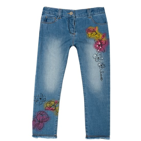 Джинсы Chicco Flowers, арт. 090.08476.085, цвет Голубой