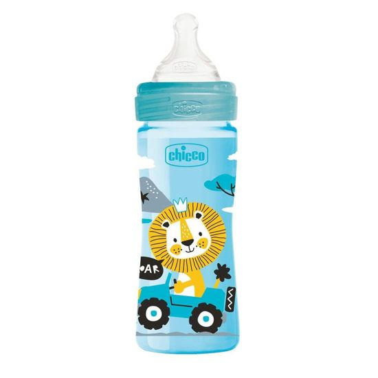 Бутылочка пластик Chicco Well-Being Physio Colors, 250мл, соска силикон, 2м+, арт. 28623, цвет Голубой