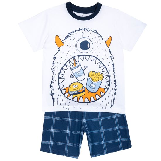 Пижама Chicco Monster party, арт. 090.35381.033, цвет Синий с белым