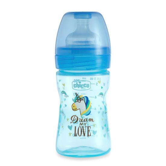 Бутылочка пластик Chicco Well-Being Love, 150мл, соска силикон, 0m+  , арт. 09849, цвет Голубой