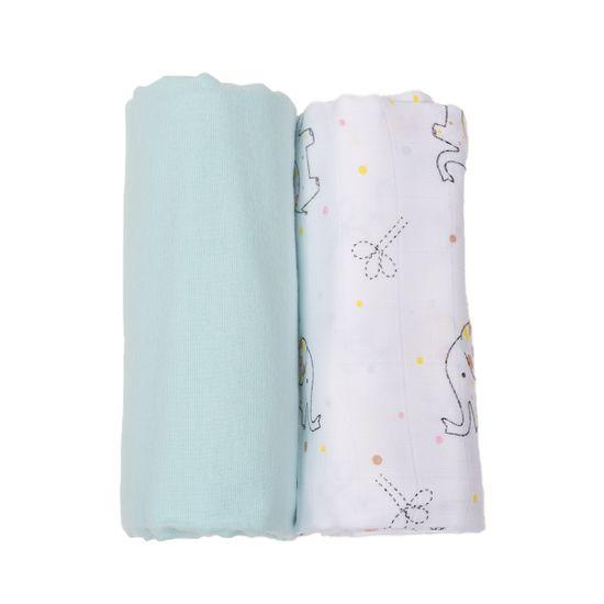 """Набор пеленок Piccolino """"Elephant"""": фланель и муслин, 80 х100 см, арт. 111798.01, цвет Бирюзовый"""