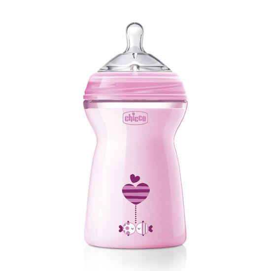 Бутылочка пластик Chicco Natural Feeling Color, 330мл, 6 м+, арт. 80837, цвет Розовый