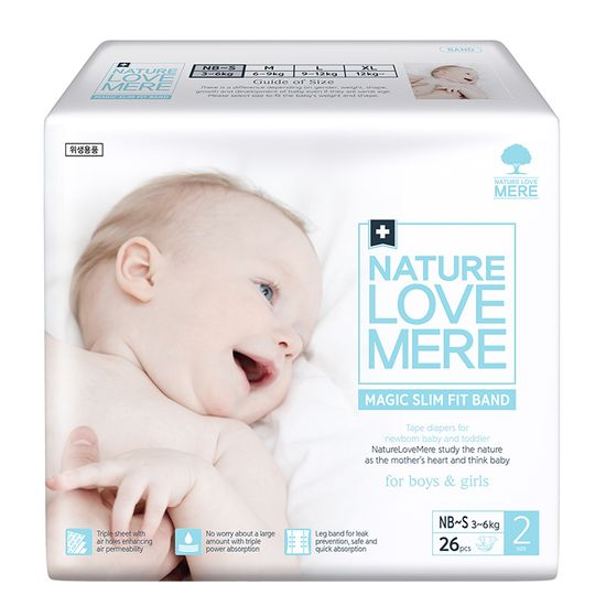 Подгузники Nature Love Mere Magic Slim Fit, размер 2 (NB/S), 3-6 кг, 26 шт, арт. 8809402093724