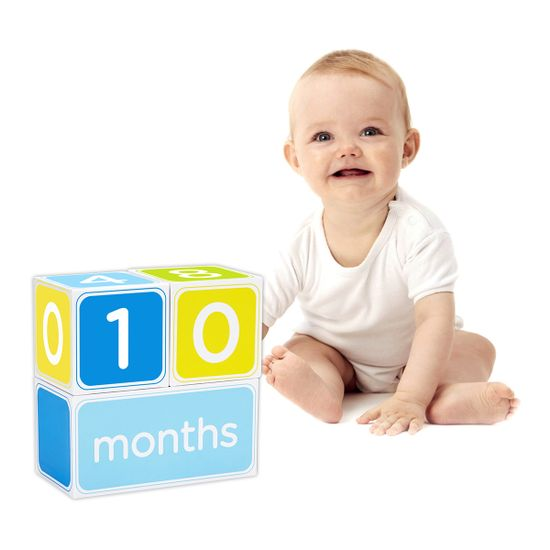 """Подарочный набор кубиков с наклейками """"Первый год"""" (голубой), арт. 60040, цвет Голубой"""