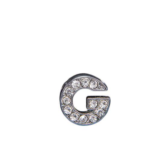 """Эмодзи Tinto """"Буква G"""" со стразами , арт. LT00917.1, цвет Серебряный"""