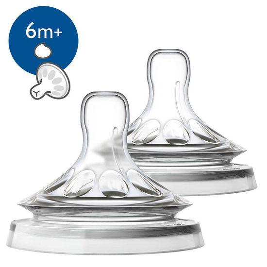 Соска Philips Avent Natural,  силикон, для густой еды, 6м+, 2 шт, арт. 3930989