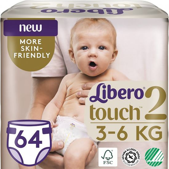 Подгузники Libero Touch, размер 2, 3-6 кг, 64 шт, арт. 7985