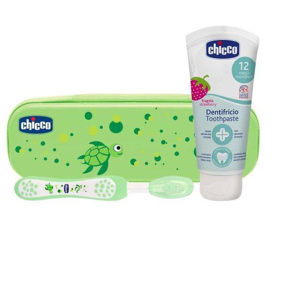 Дорожный набор Chicco: зубная щетка, зубная паста, арт. 06959, цвет Зеленый