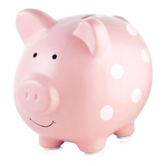 Керамическая копилка Поросенок, арт. 4010, цвет Розовый