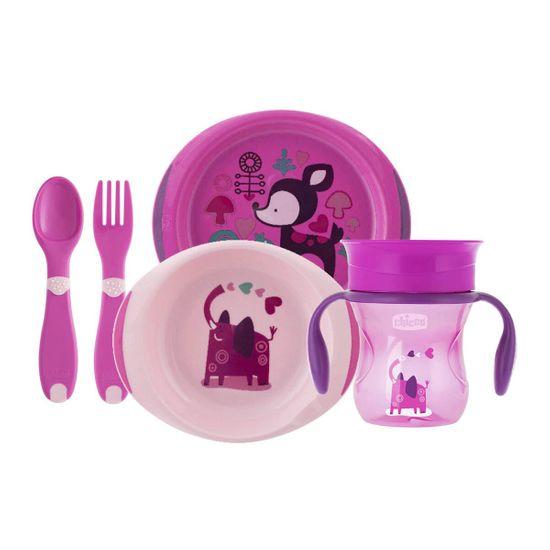 Набор посуды Chicco Meal Set, 12м+, арт. 16201, цвет Розовый