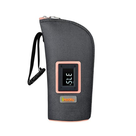 Термочехол для бутылочки iHotKu Smart, арт. iHK-718, цвет Серый с розовым