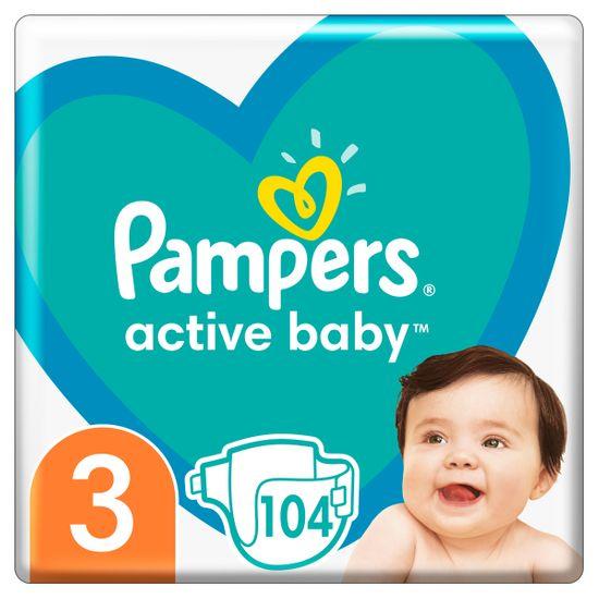 Подгузники Pampers Active Baby, размер 3, 6-10 кг, 104 шт, арт. 8001090950215