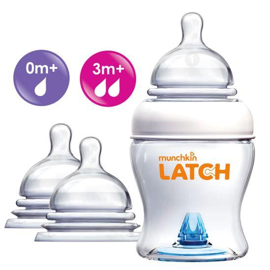 Набор Munchkin Latch: бутылочка 120мл и соски 0м+, 3м+, арт. 011614.0-3