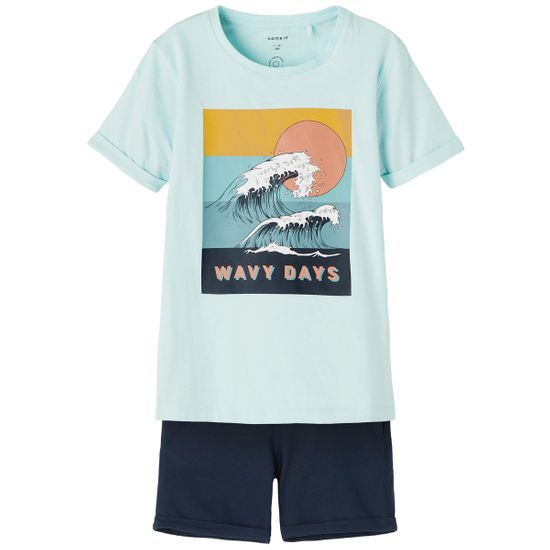 Костюм Name it Waves blue: футболка и шорты, арт. 211.13187594.BTIN, цвет Голубой