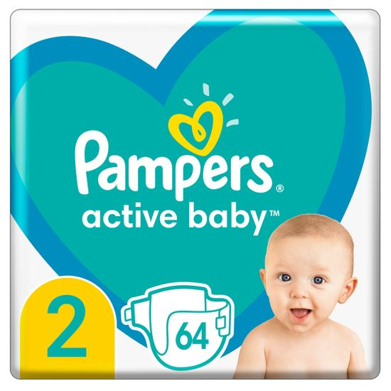 Подгузники Pampers Active Baby, размер 2, 4-8 кг, 64 шт, арт. 8006540045428