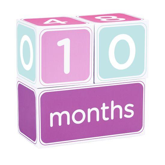 """Подарочный набор кубиков с наклейками """"Первый год"""" (розовый), арт. 60041, цвет Розовый"""