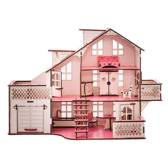 Кукольный домик GoodPlay, с гаражом и подсветкой, 57х27х35 см, арт. B011